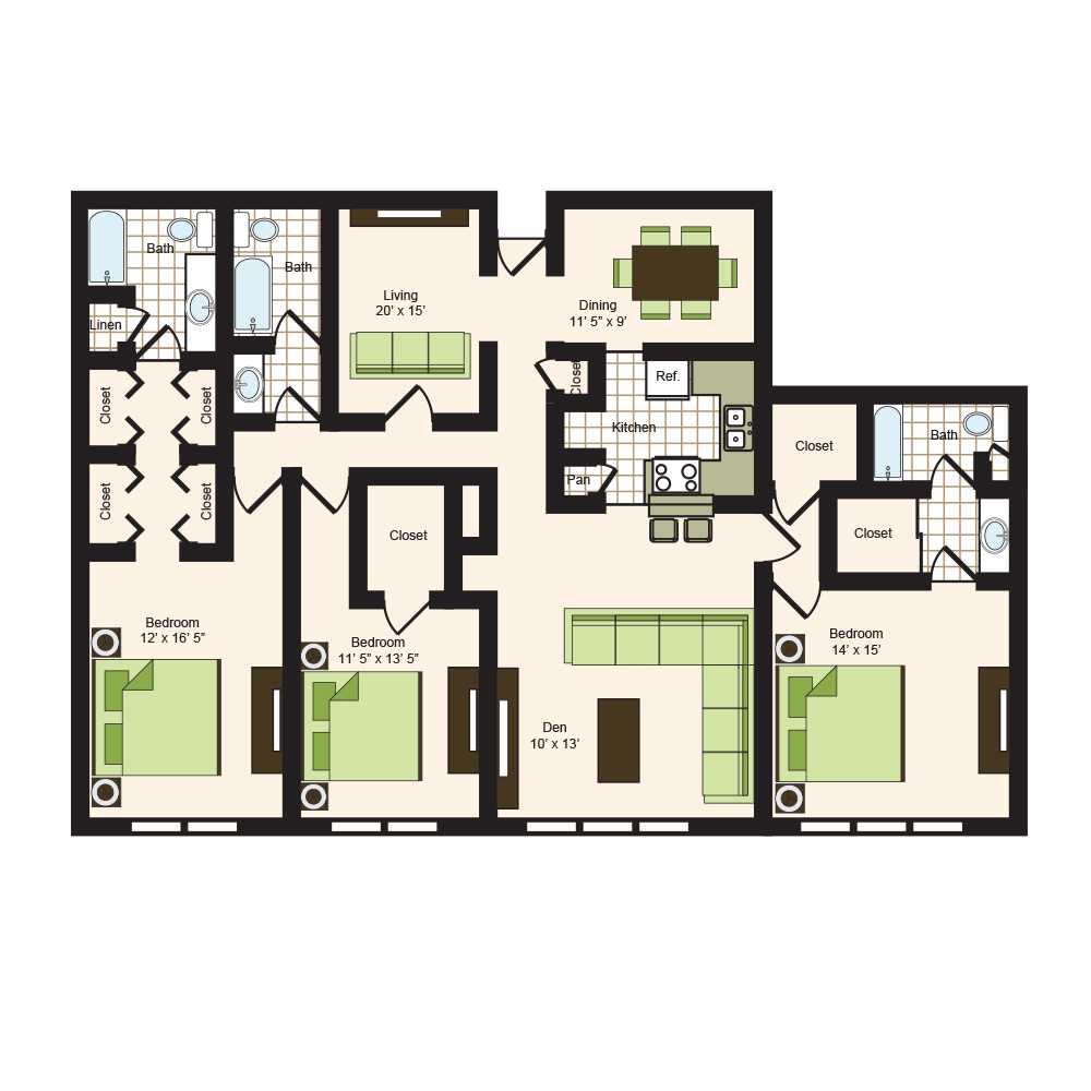 Floor plan 17 | 9900 Memorial Apartments Near Spring ISD