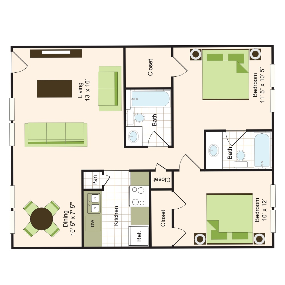 Floor plan 7 | 9900 Memorial Apartments Near Spring ISD
